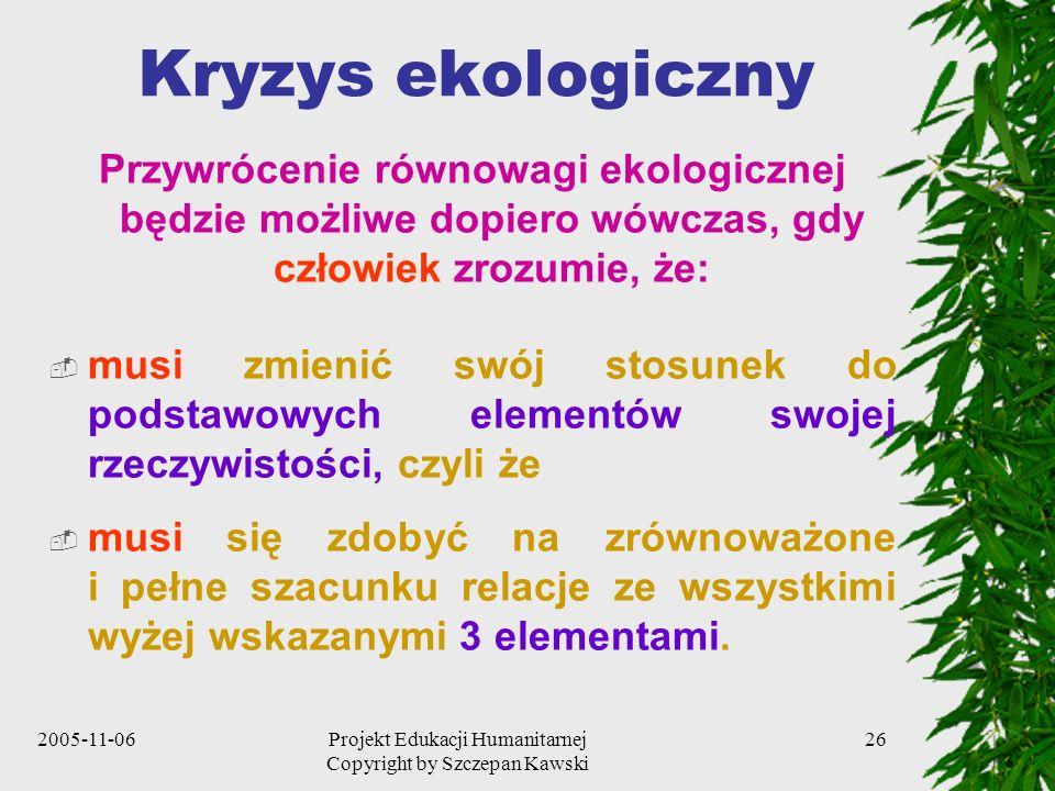 2005-11-06Projekt Edukacji Humanitarnej Copyright by Szczepan Kawski 26 Kryzys ekologiczny Przywrócenie równowagi ekologicznej będzie możliwe dopiero wówczas, gdy człowiek zrozumie, że: musi zmienić swój stosunek do podstawowych elementów swojej rzeczywistości, czyli że musi się zdobyć na zrównoważone i pełne szacunku relacje ze wszystkimi wyżej wskazanymi 3 elementami.