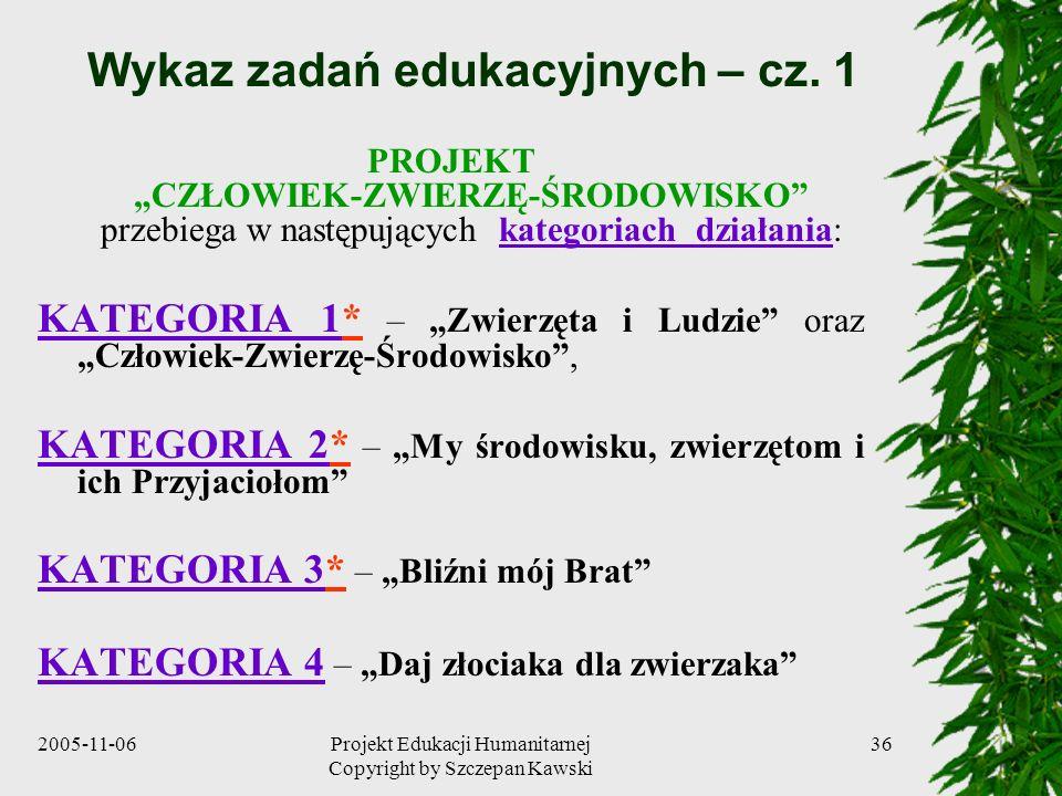 2005-11-06Projekt Edukacji Humanitarnej Copyright by Szczepan Kawski 36 Wykaz zadań edukacyjnych – cz.