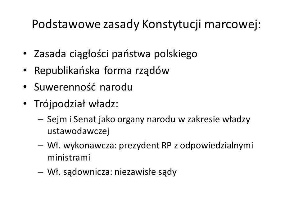 Podstawowe zasady Konstytucji marcowej: Zasada ciągłości państwa polskiego Republikańska forma rządów Suwerenność narodu Trójpodział władz: – Sejm i S