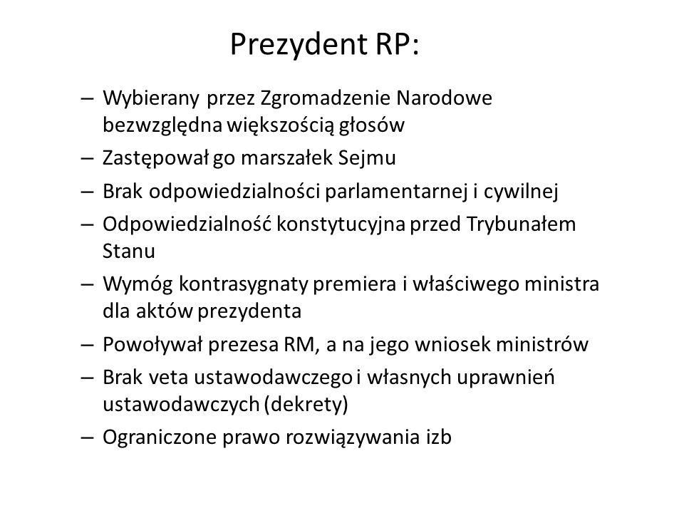Prezydent RP: – Wybierany przez Zgromadzenie Narodowe bezwzględna większością głosów – Zastępował go marszałek Sejmu – Brak odpowiedzialności parlamen