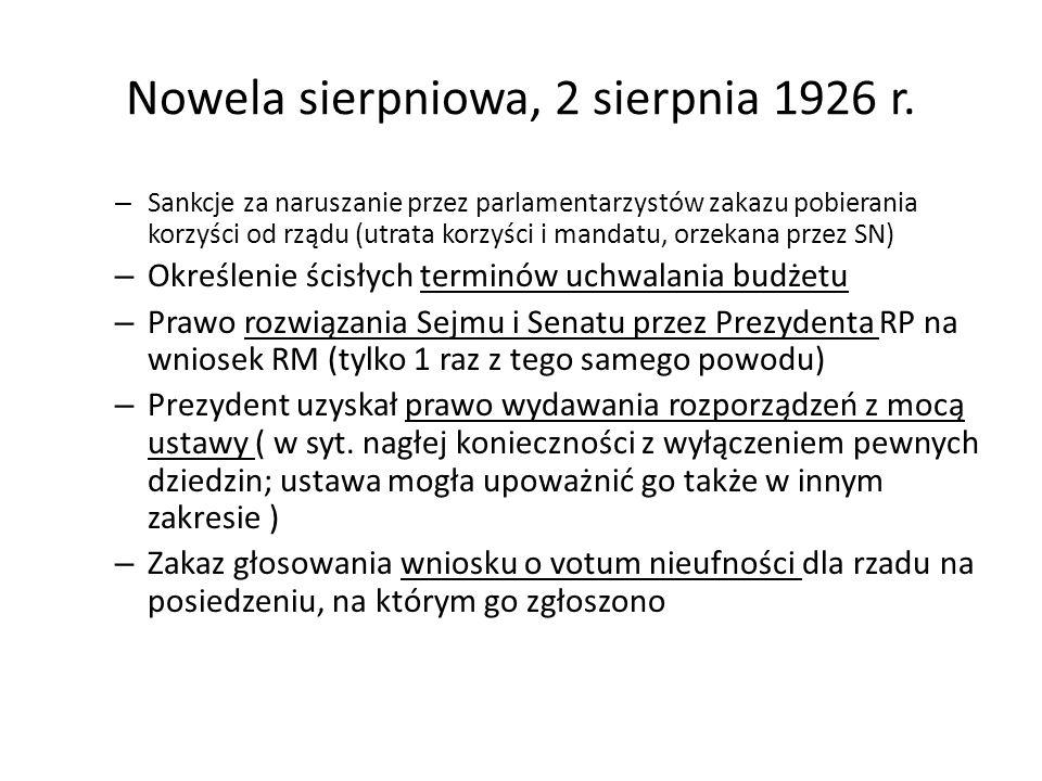 Nowela sierpniowa, 2 sierpnia 1926 r. – Sankcje za naruszanie przez parlamentarzystów zakazu pobierania korzyści od rządu (utrata korzyści i mandatu,