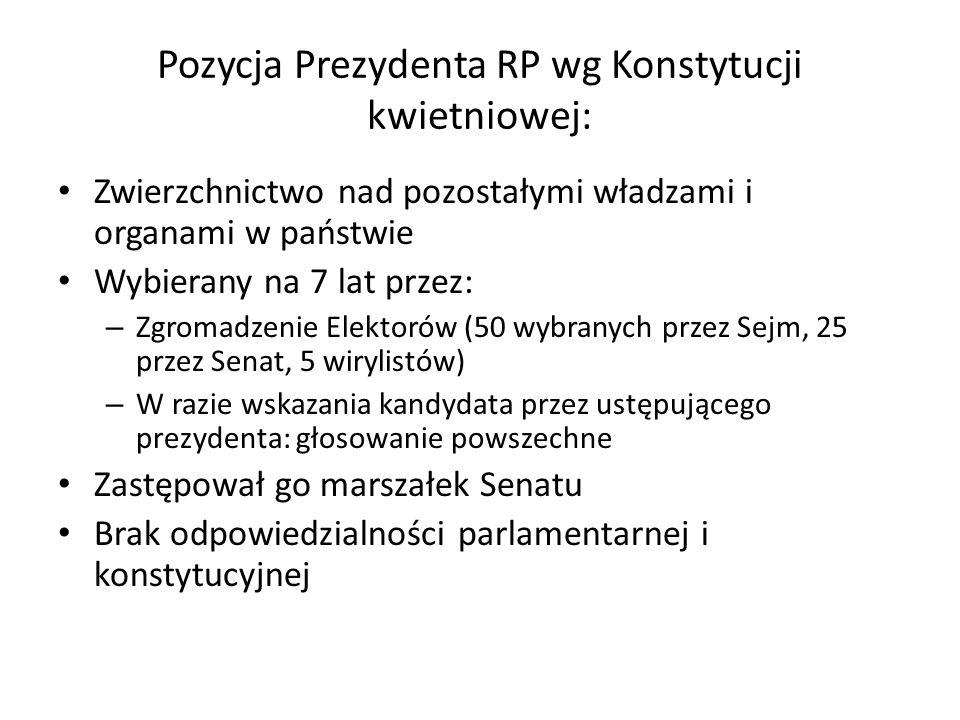 Pozycja Prezydenta RP wg Konstytucji kwietniowej: Zwierzchnictwo nad pozostałymi władzami i organami w państwie Wybierany na 7 lat przez: – Zgromadzen