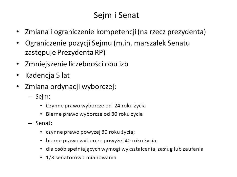 Sejm i Senat Zmiana i ograniczenie kompetencji (na rzecz prezydenta) Ograniczenie pozycji Sejmu (m.in. marszałek Senatu zastępuje Prezydenta RP) Zmnie