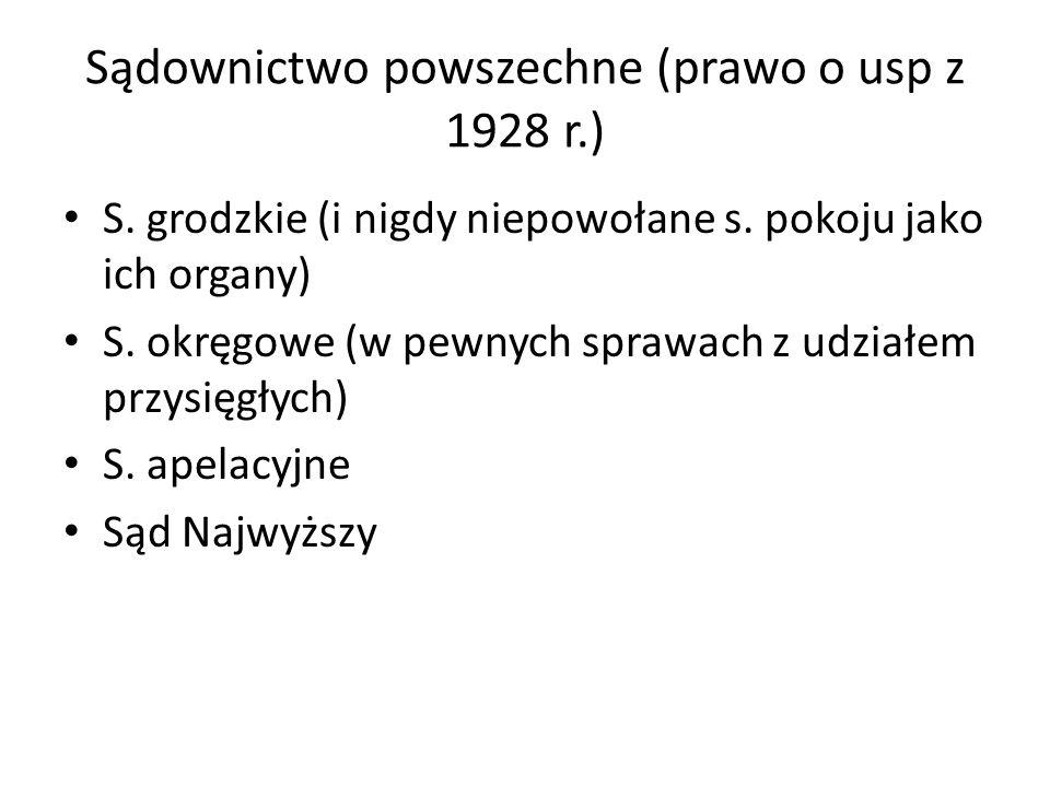 Sądownictwo powszechne (prawo o usp z 1928 r.) S. grodzkie (i nigdy niepowołane s. pokoju jako ich organy) S. okręgowe (w pewnych sprawach z udziałem
