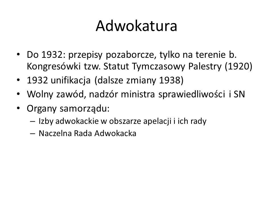 Adwokatura Do 1932: przepisy pozaborcze, tylko na terenie b. Kongresówki tzw. Statut Tymczasowy Palestry (1920) 1932 unifikacja (dalsze zmiany 1938) W