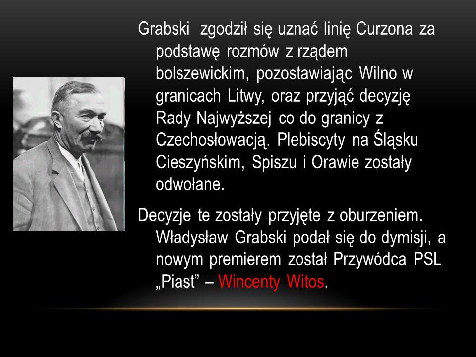 Grabski zgodził się uznać linię Curzona za podstawę rozmów z rządem bolszewickim, pozostawiając Wilno w granicach Litwy, oraz przyjąć decyzję Rady Naj