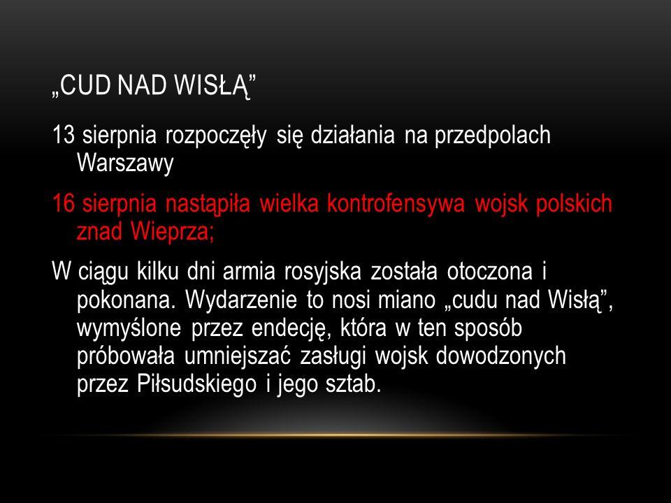 CUD NAD WISŁĄ 13 sierpnia rozpoczęły się działania na przedpolach Warszawy 16 sierpnia nastąpiła wielka kontrofensywa wojsk polskich znad Wieprza; W c