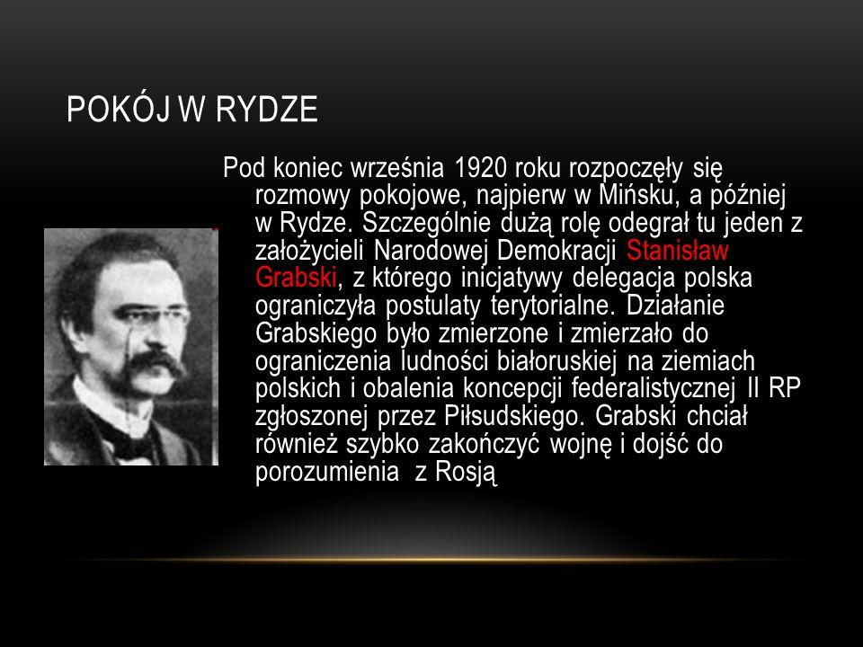 POKÓJ W RYDZE Pod koniec września 1920 roku rozpoczęły się rozmowy pokojowe, najpierw w Mińsku, a później w Rydze. Szczególnie dużą rolę odegrał tu je