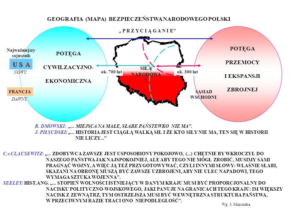 GEOGRAFIA (MAPA) BEZPIECZEŃSTWA NARODOWEGO POLSKI POTĘGA CYWILZACYJNO- EKONOMICZNA POTĘGA PRZEMOCY I EKSPANSJI ZBROJNEJ ok. 700 latok. 300 lat SĄSIAD