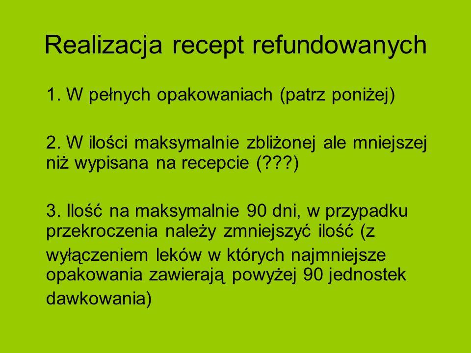Realizacja recept refundowanych 1. W pełnych opakowaniach (patrz poniżej) 2. W ilości maksymalnie zbliżonej ale mniejszej niż wypisana na recepcie (??