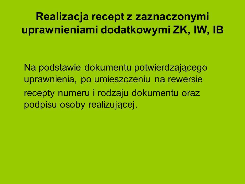 Realizacja recept z zaznaczonymi uprawnieniami dodatkowymi ZK, IW, IB Na podstawie dokumentu potwierdzającego uprawnienia, po umieszczeniu na rewersie