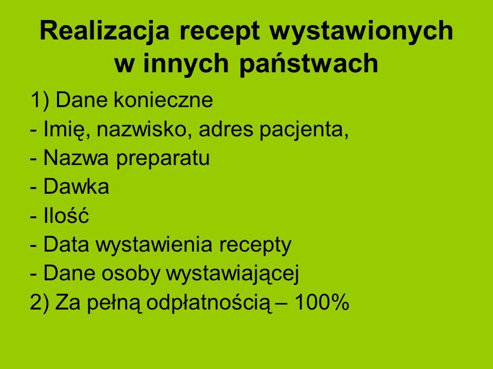 Realizacja recept wystawionych w innych państwach 1) Dane konieczne - Imię, nazwisko, adres pacjenta, - Nazwa preparatu - Dawka - Ilość - Data wystawi