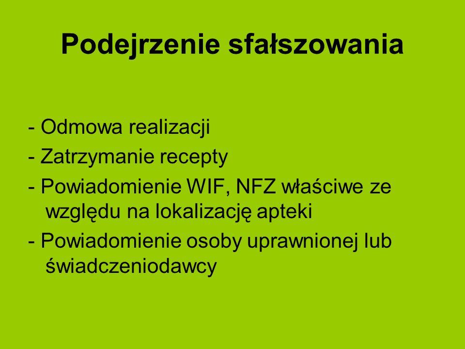 Podejrzenie sfałszowania - Odmowa realizacji - Zatrzymanie recepty - Powiadomienie WIF, NFZ właściwe ze względu na lokalizację apteki - Powiadomienie