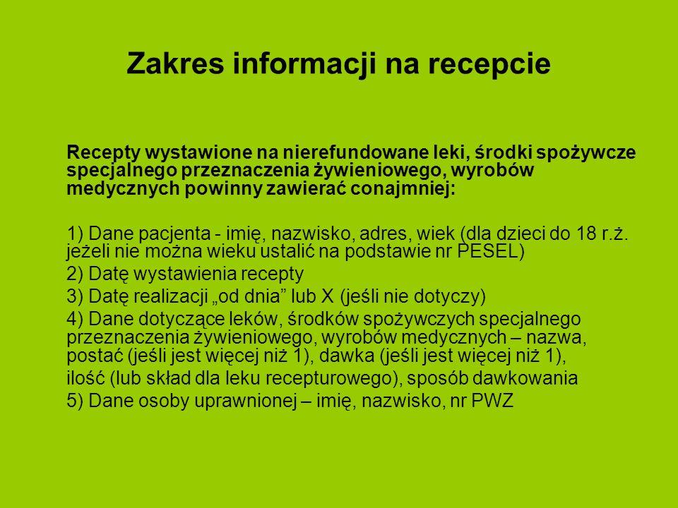 Zakres informacji na recepcie Recepty wystawione na nierefundowane leki, środki spożywcze specjalnego przeznaczenia żywieniowego, wyrobów medycznych p