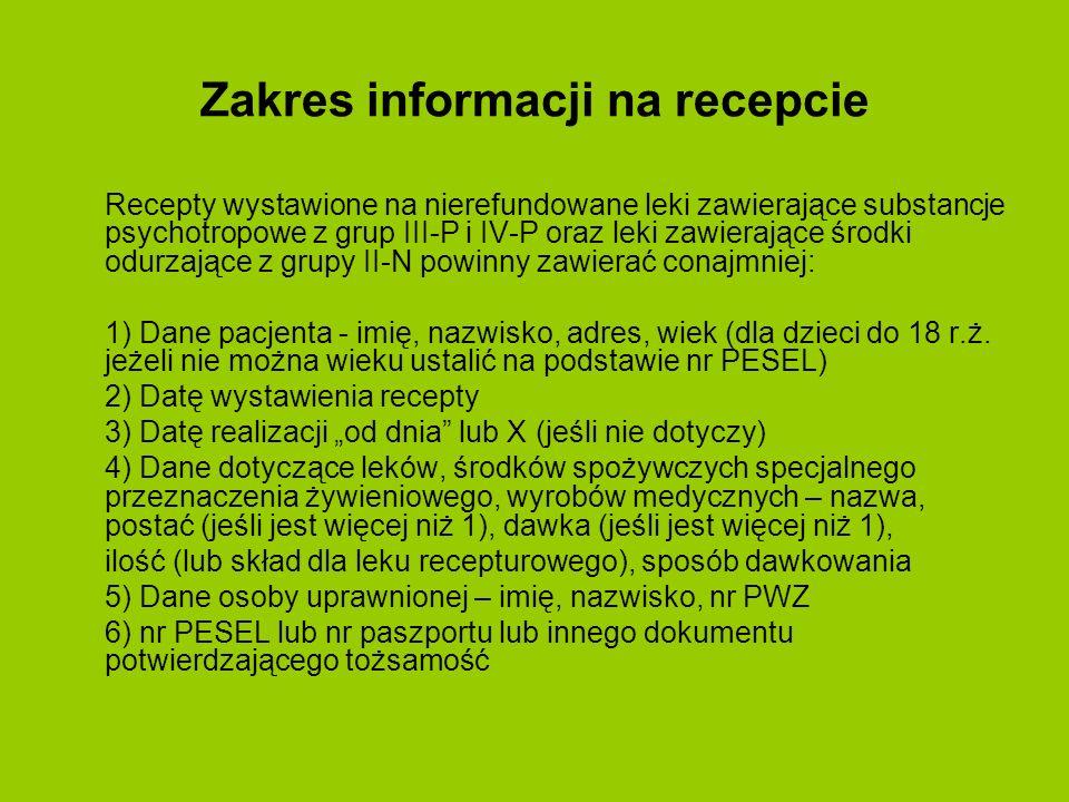 Zakres informacji na recepcie Recepty wystawione na nierefundowane leki zawierające substancje psychotropowe z grup III-P i IV-P oraz leki zawierające