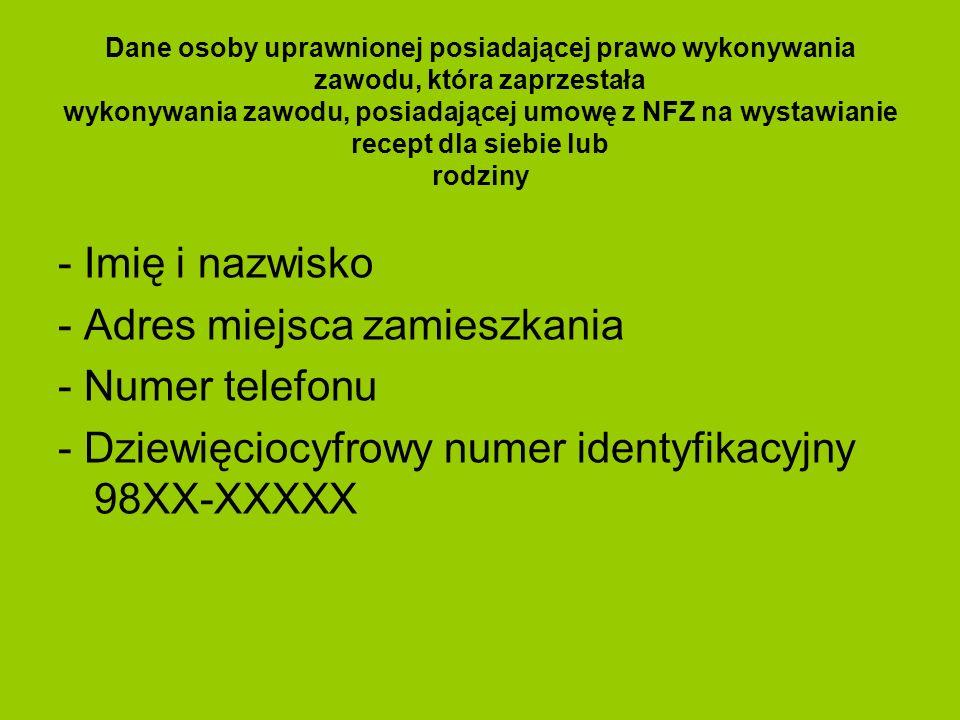 ABOLICJA Recepty zrealizowane od 1 stycznia 2012 r.