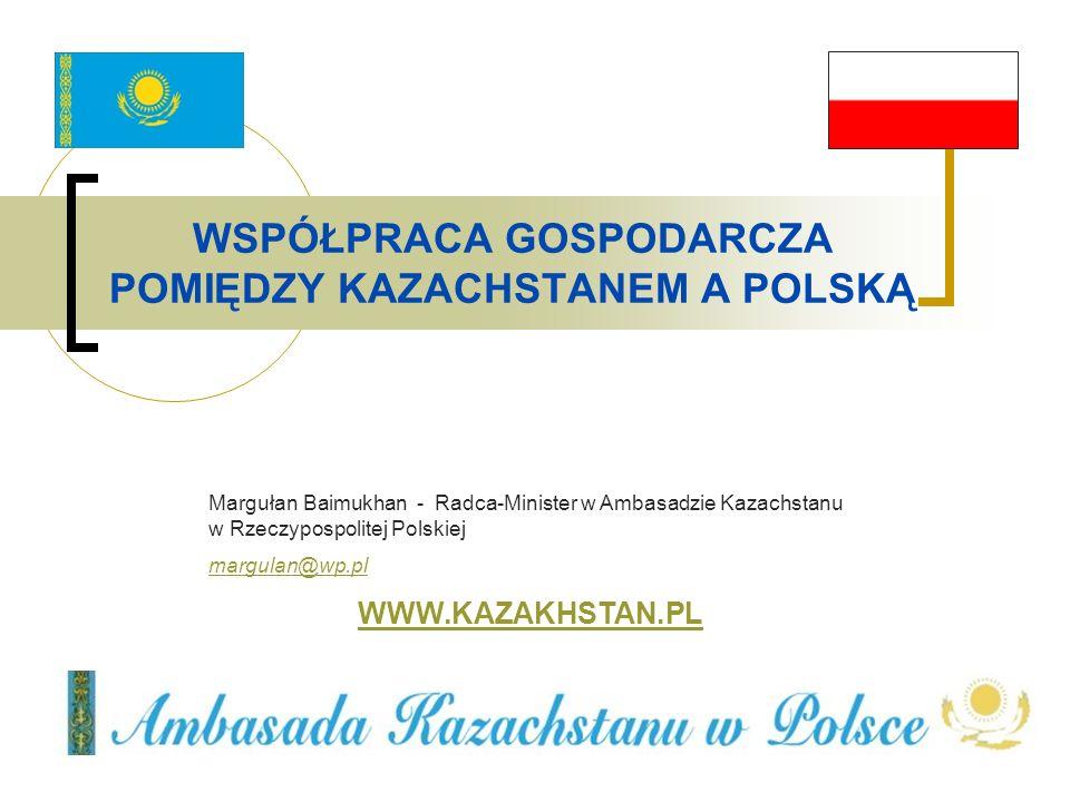 WSPÓŁPRACA GOSPODARCZA POMIĘDZY KAZACHSTANEM A POLSKĄ Margułan Baimukhan - Radca-Minister w Ambasadzie Kazachstanu w Rzeczypospolitej Polskiej margula