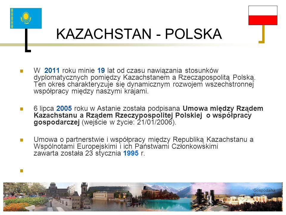 KAZACHSTAN - POLSKA W 2011 roku minie 19 lat od czasu nawiązania stosunków dyplomatycznych pomiędzy Kazachstanem a Rzecząpospolitą Polską. Ten okres c