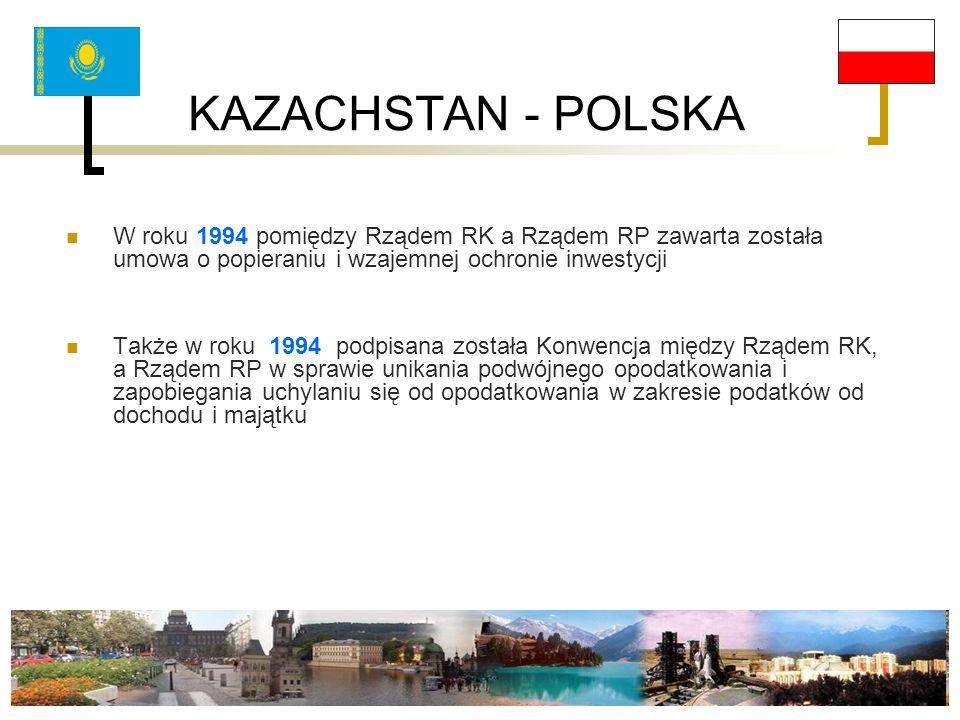 KAZACHSTAN - POLSKA W roku 1994 pomiędzy Rządem RK a Rządem RP zawarta została umowa o popieraniu i wzajemnej ochronie inwestycji Także w roku 1994 po