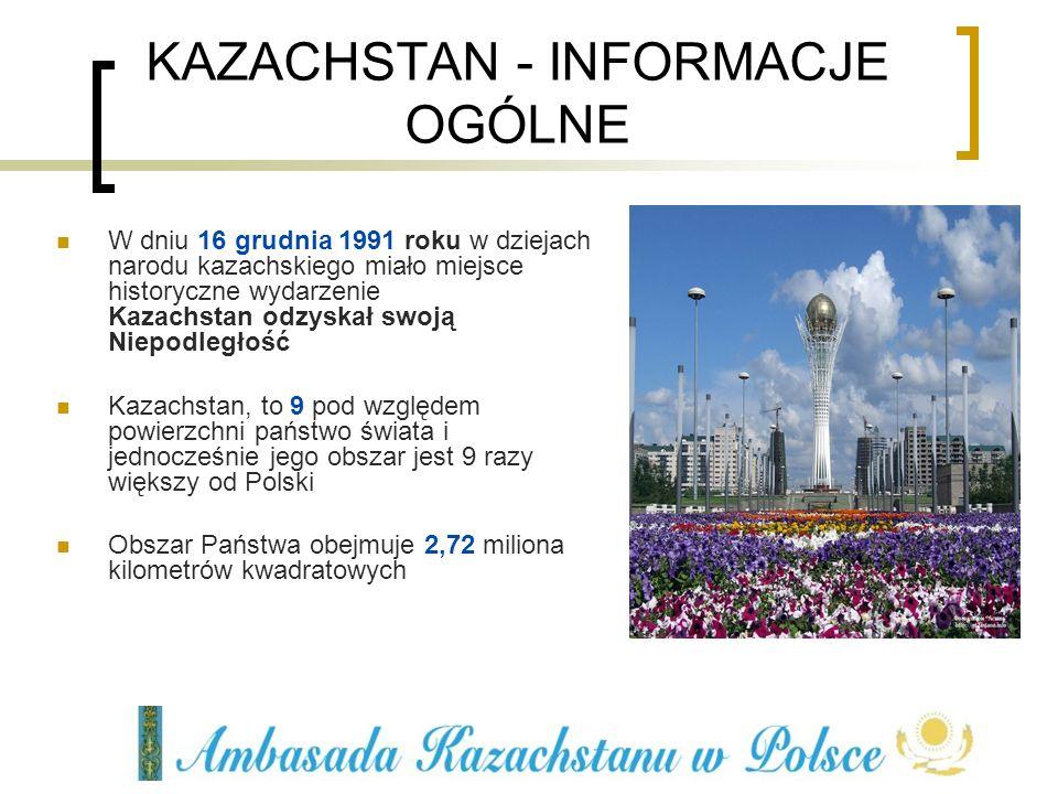W dniu 16 grudnia 1991 roku w dziejach narodu kazachskiego miało miejsce historyczne wydarzenie Kazachstan odzyskał swoją Niepodległość Kazachstan, to
