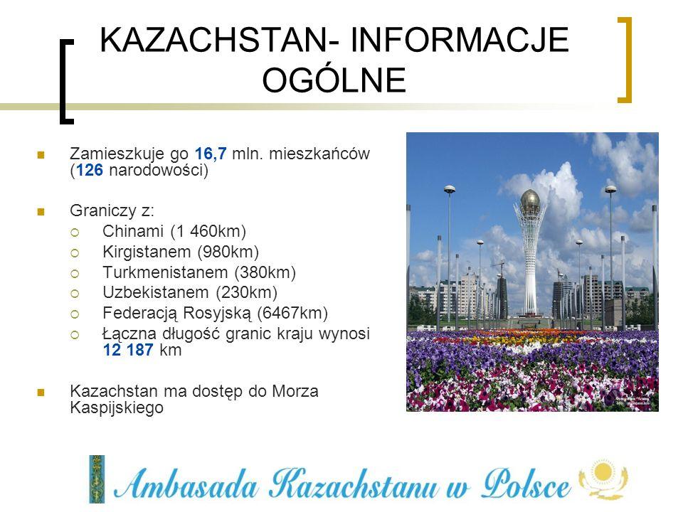 WARTE UWAGI Polecamy pożyteczny portal internetowy: www.invest.gov.kz www.invest.gov.kz (w 12 językach: angielski, niemiecki, francuski, włoski, hiszpański, arabski, koreański, japoński, chiński, turecki, rosyjski, kazachski) oraz www.kazakhstan.pl ( oferty współpracy kazachstańskich partnerów: (przemysł chemiczny, lekki, budowlany, metalurgiczny, maszynowy, farmaceutyczny, spożywczy, pakowania) )