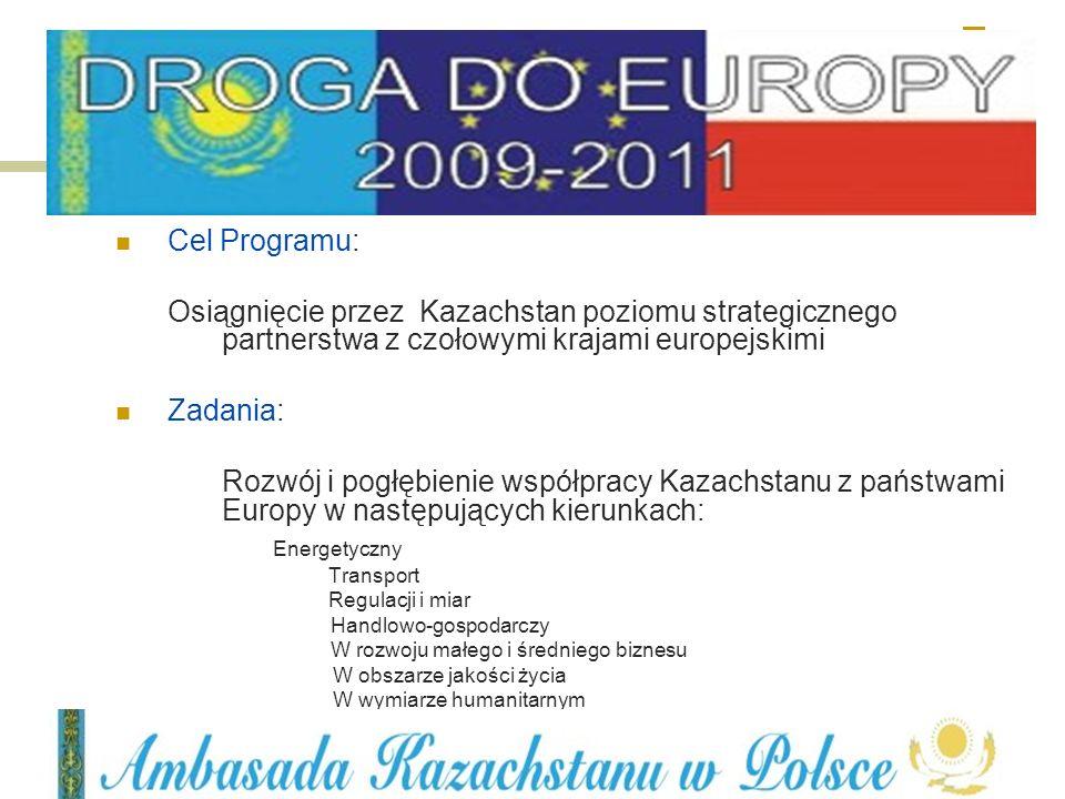 Cel Programu: Osiągnięcie przez Kazachstan poziomu strategicznego partnerstwa z czołowymi krajami europejskimi Zadania: Rozwój i pogłębienie współprac