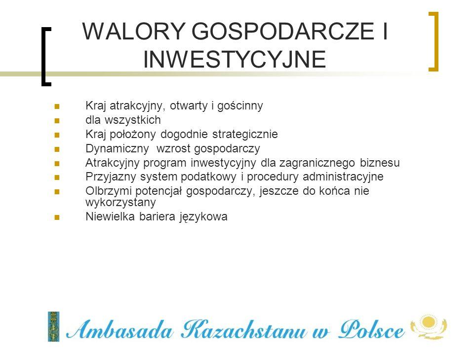 WALORY GOSPODARCZE I INWESTYCYJNE Kraj atrakcyjny, otwarty i gościnny dla wszystkich Kraj położony dogodnie strategicznie Dynamiczny wzrost gospodarcz