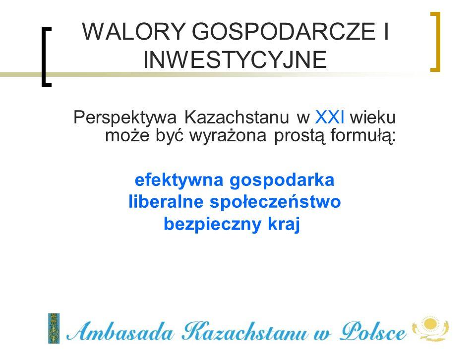 Perspektywa Kazachstanu w XXI wieku może być wyrażona prostą formułą: efektywna gospodarka liberalne społeczeństwo bezpieczny kraj WALORY GOSPODARCZE