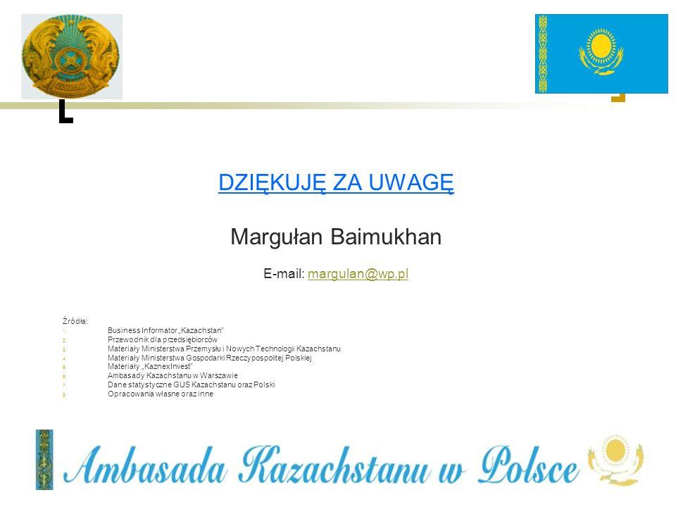 DZIĘKUJĘ ZA UWAGĘ Margułan Baimukhan E-mail: margulan@wp.plmargulan@wp.pl Źródła: 1. Business Informator Kazachstan 2. Przewodnik dla przedsiębiorców