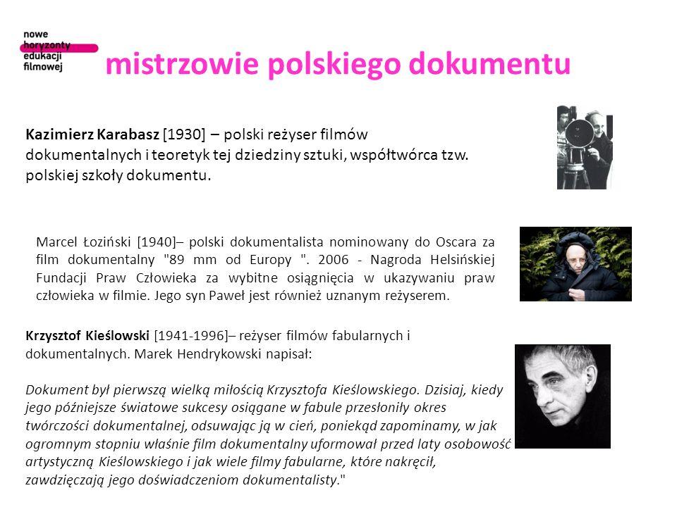 mistrzowie polskiego dokumentu Kazimierz Karabasz [1930] – polski reżyser filmów dokumentalnych i teoretyk tej dziedziny sztuki, współtwórca tzw. pols