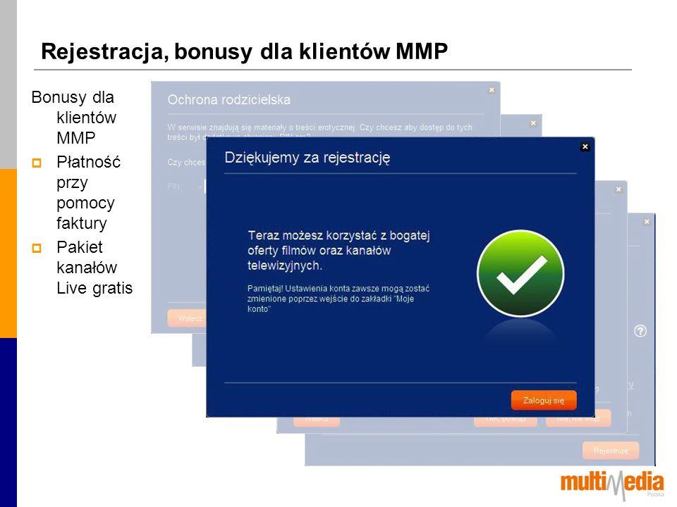 Rejestracja, bonusy dla klientów MMP Bonusy dla klientów MMP Płatność przy pomocy faktury Pakiet kanałów Live gratis