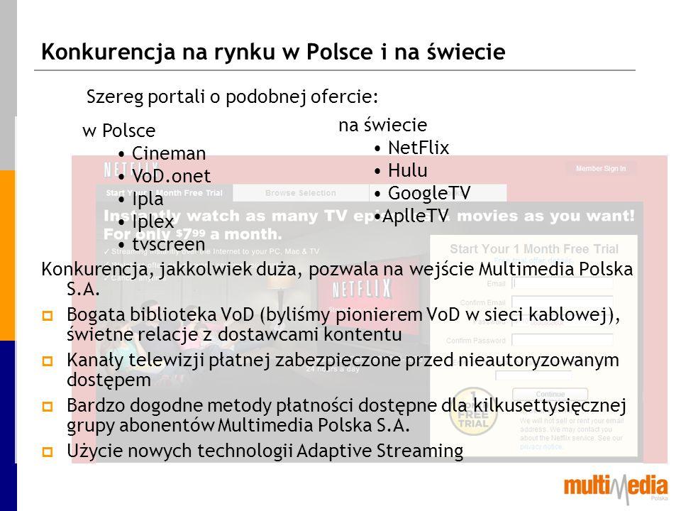 Comcast – operator kablowy z ofertą streamingu Comcast wraz z Tv Everywhere stworzył w 2008 jeden z największych portali ze streamingiem - fancast.com Ponad tysiąc kanałów Live Ponad 1200 filmów pełnometrażowych Seriale TV Obsługa iPhone, iPad Powodzenie projektu udało się osiągnąć dzięki dobrym relacjom z dużą, własną bazą abonencką – ten scenariusz jest inspiracją również dla Multimedia Polska S.A.