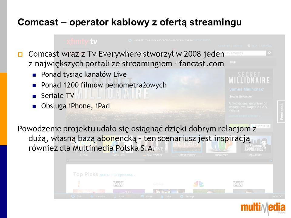 Comcast – operator kablowy z ofertą streamingu Comcast wraz z Tv Everywhere stworzył w 2008 jeden z największych portali ze streamingiem - fancast.com
