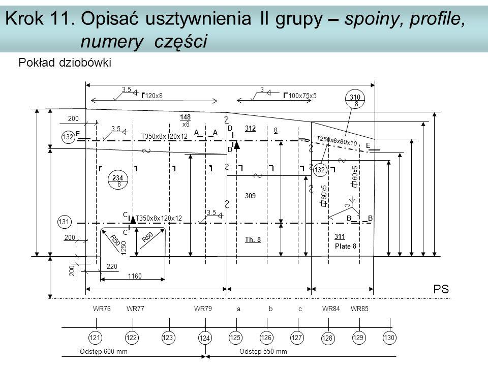 Krok 11. Opisać usztywnienia II grupy – spoiny, profile, numery części PS WR76 WR77 WR79 a b c WR84 WR85 Pokład dziobówki Odstęp 600 mm Odstęp 550 mm