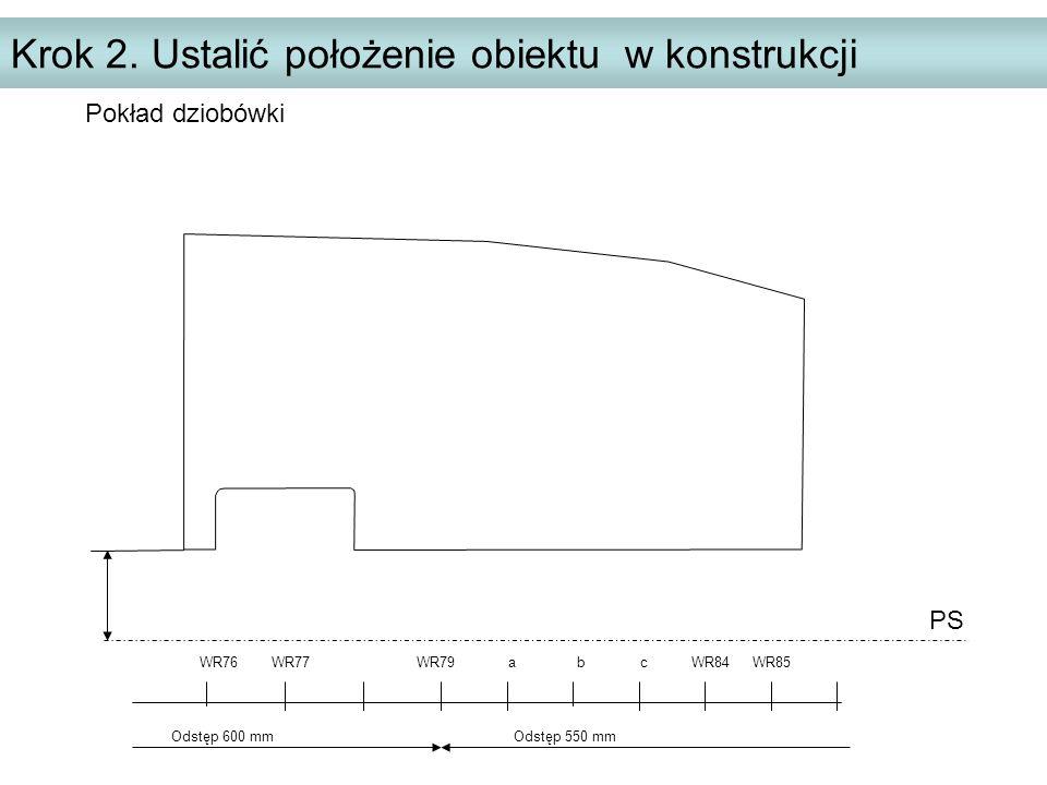 Krok 2. Ustalić położenie obiektu w konstrukcji PS WR76 WR77 WR79 a b c WR84 WR85 Odstęp 600 mm Odstęp 550 mm Pokład dziobówki