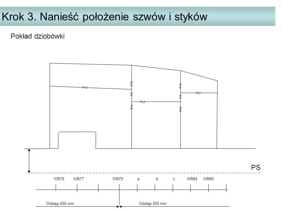 Krok 3. Nanieść położenie szwów i styków PS WR76 WR77 WR79 a b c WR84 WR85 Odstęp 600 mm Odstęp 550 mm Pokład dziobówki