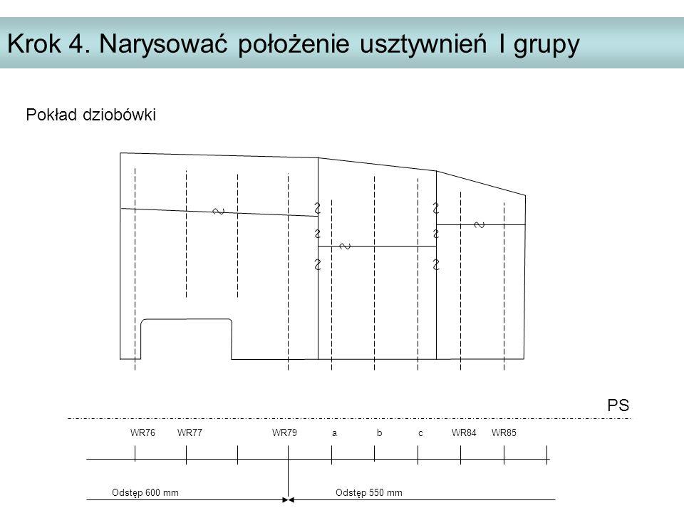Krok 4. Narysować położenie usztywnień I grupy PS WR76 WR77 WR79 a b c WR84 WR85 Odstęp 600 mm Odstęp 550 mm Pokład dziobówki