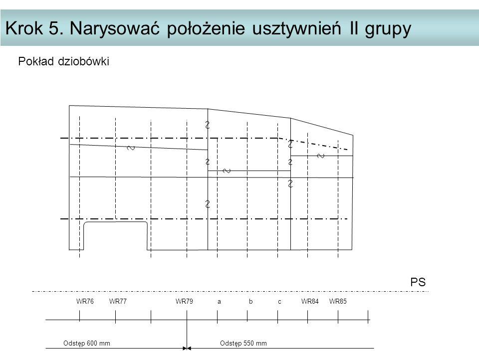 Krok 5. Narysować położenie usztywnień II grupy PS WR76 WR77 WR79 a b c WR84 WR85 Odstęp 600 mm Odstęp 550 mm Pokład dziobówki