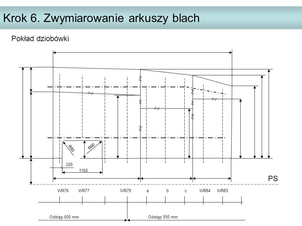 Krok 6. Zwymiarowanie arkuszy blach PS WR76 WR77 WR79 a b c WR84 WR85 Odstęp 600 mm Odstęp 550 mm 220 R50 1160 Pokład dziobówki R50