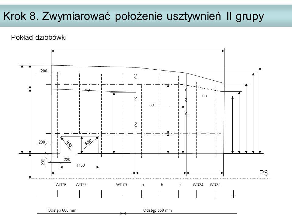 Krok 8. Zwymiarować położenie usztywnień II grupy PS WR76 WR77 WR79 a b c WR84 WR85 Odstęp 600 mm Odstęp 550 mm 200 220 200 R50 1160 200 Pokład dziobó