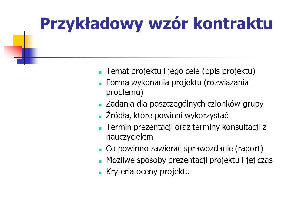Przykładowy wzór kontraktu Temat projektu i jego cele (opis projektu) Forma wykonania projektu (rozwiązania problemu) Zadania dla poszczególnych człon