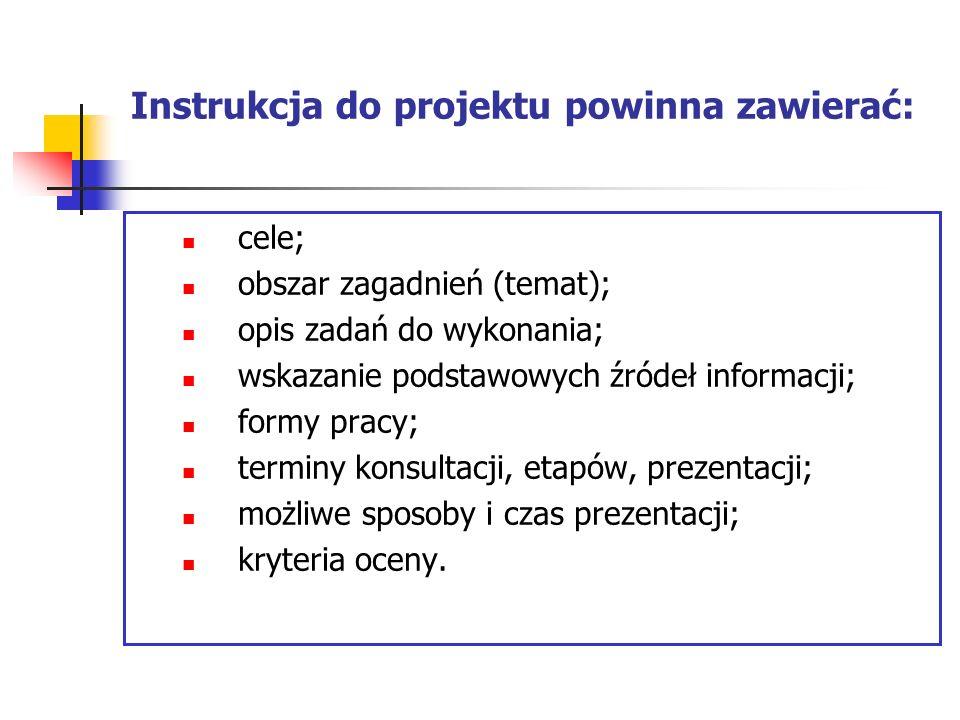 Instrukcja do projektu powinna zawierać: cele; obszar zagadnień (temat); opis zadań do wykonania; wskazanie podstawowych źródeł informacji; formy prac
