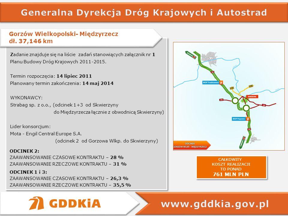 Gorzów Wielkopolski- Międzyrzecz dł. 37,146 km Gorzów Wielkopolski- Międzyrzecz dł. 37,146 km Zadanie znajduje się na liście zadań stanowiących załącz