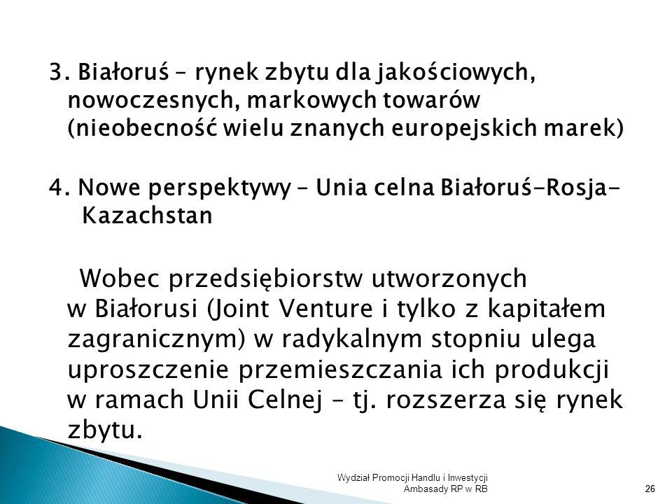 Wydział Promocji Handlu i Inwestycji Ambasady RP w RB26 3. Białoruś – rynek zbytu dla jakościowych, nowoczesnych, markowych towarów (nieobecność wielu