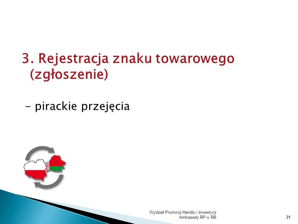 Wydział Promocji Handlu i Inwestycji Ambasady RP w RB31 3. Rejestracja znaku towarowego (zgłoszenie) - pirackie przejęcia 31
