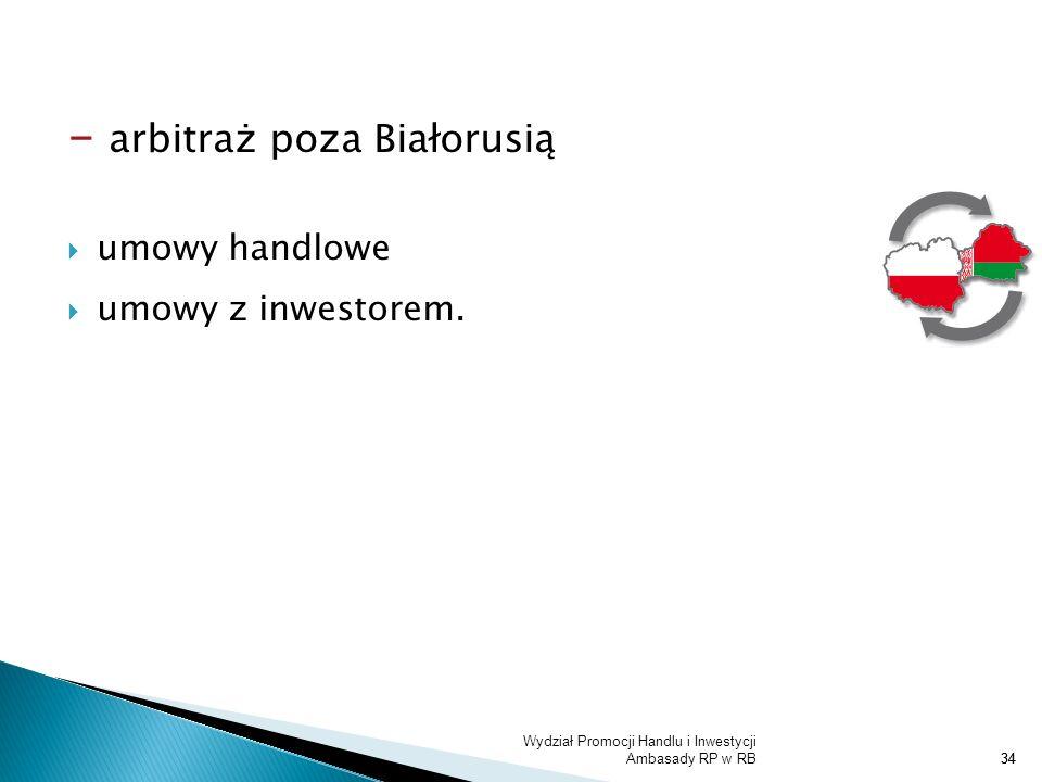 Wydział Promocji Handlu i Inwestycji Ambasady RP w RB34 - arbitraż poza Białorusią umowy handlowe umowy z inwestorem.