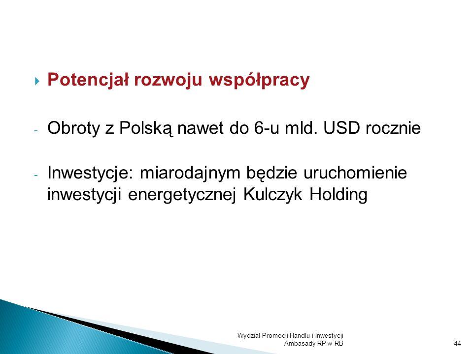 Wydział Promocji Handlu i Inwestycji Ambasady RP w RB44 Potencjał rozwoju współpracy - Obroty z Polską nawet do 6-u mld. USD rocznie - Inwestycje: mia