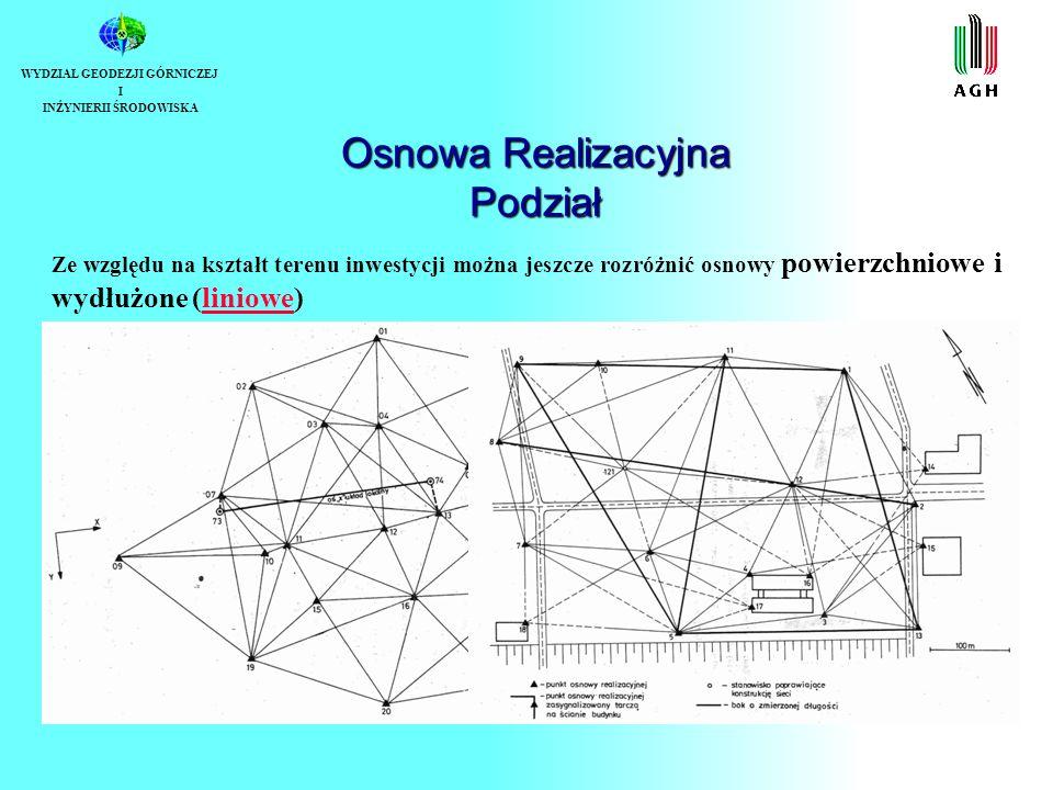 Osnowa Realizacyjna Warunki geometryczne sieci WYDZIAŁ GEODEZJI GÓRNICZEJ I INŻYNIERII ŚRODOWISKA W klasyfikacji poziomych osnów realizacyjnych rozróżnić jeszcze można dwa rodzaje sieci: sieci w których na wartość współrzędnych punktów nie nałożono warunków równości z wartościami projektowanymi, sieci w których wartości współrzędnych punktów po wyrównaniu równe są założonym w projekcie wartościom nominalnym.