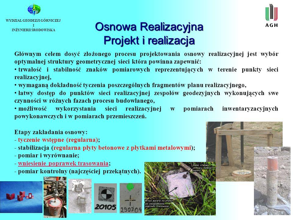 Osnowa Realizacyjna Projekt i realizacja WYDZIAŁ GEODEZJI GÓRNICZEJ I INŻYNIERII ŚRODOWISKA Głównym celem dosyć złożonego procesu projektowania osnowy