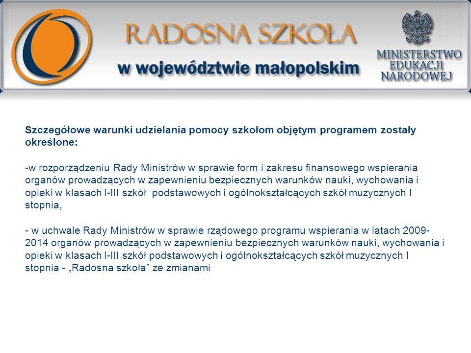 Szczegółowe warunki udzielania pomocy szkołom objętym programem zostały określone: -w rozporządzeniu Rady Ministrów w sprawie form i zakresu finansowe